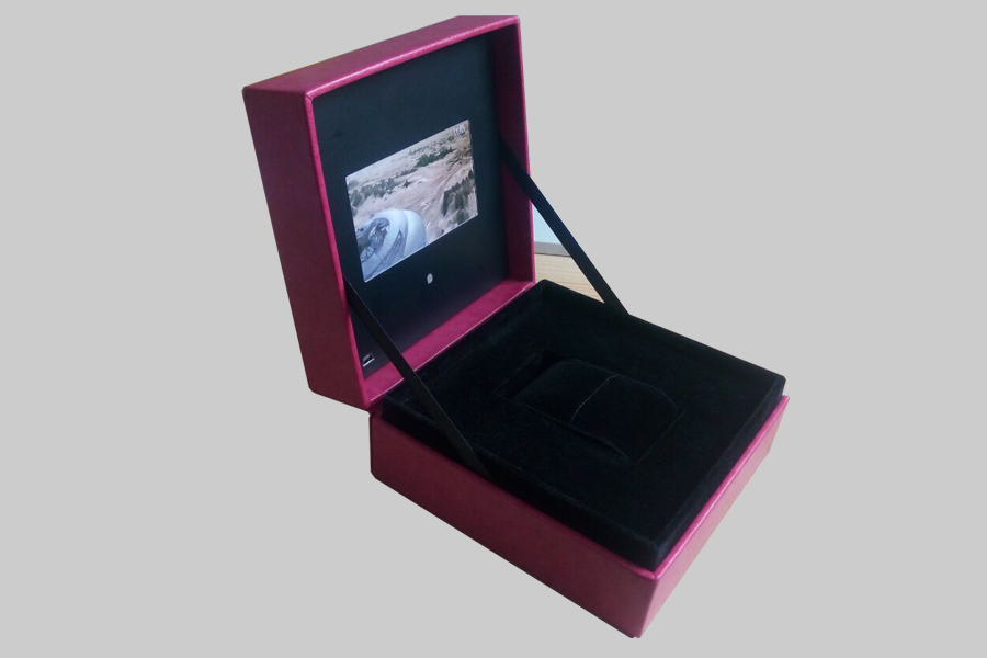 Leather Video Message Gift Boxes 4.3inch for jewelry
