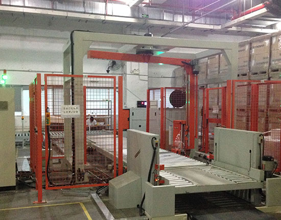 Fully Automatic Pallet Strapper and Wrapper Line