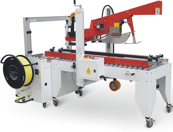 This is an economy integration of GC-P50C Semi Automatic Case Sealer and GS-201 Automatic Strapping Machine for boxes. Sensor detects the boxes and automatically apply adhesive tape to top and bottom of and boxes and do the strapping at the same time. The machine required manually adjustments when box dimensions change.