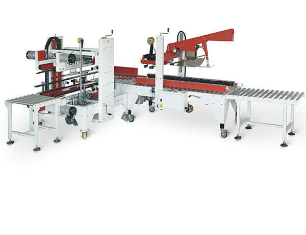 "This is a combination of automatic carton sealers to accomplish an ""H-shaped"" carton sealing. They are fully-automatic case sealer that's ready to process a random assortment of case sizes at speeds up to 4 - 6 cases per minute. GCI50 automatically fold the flaps, and apply the adhesive tape on the top and bottom and boxes. Then the pushing device automatically pushes the box to GC-H50L which seals the edges and corners of the boxes."