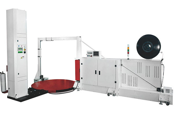 The integrated pallet strapping and stretch wrapping machine required minimum labor to do pallet packaging at one spot. As well as stretch wrapping, the system could also automatically apply 2 or 4 vertical straps to the loads. The stretch wrapper is featured by automatic clamp and cut device. Packing speed of the system is 25 pallets per hour.