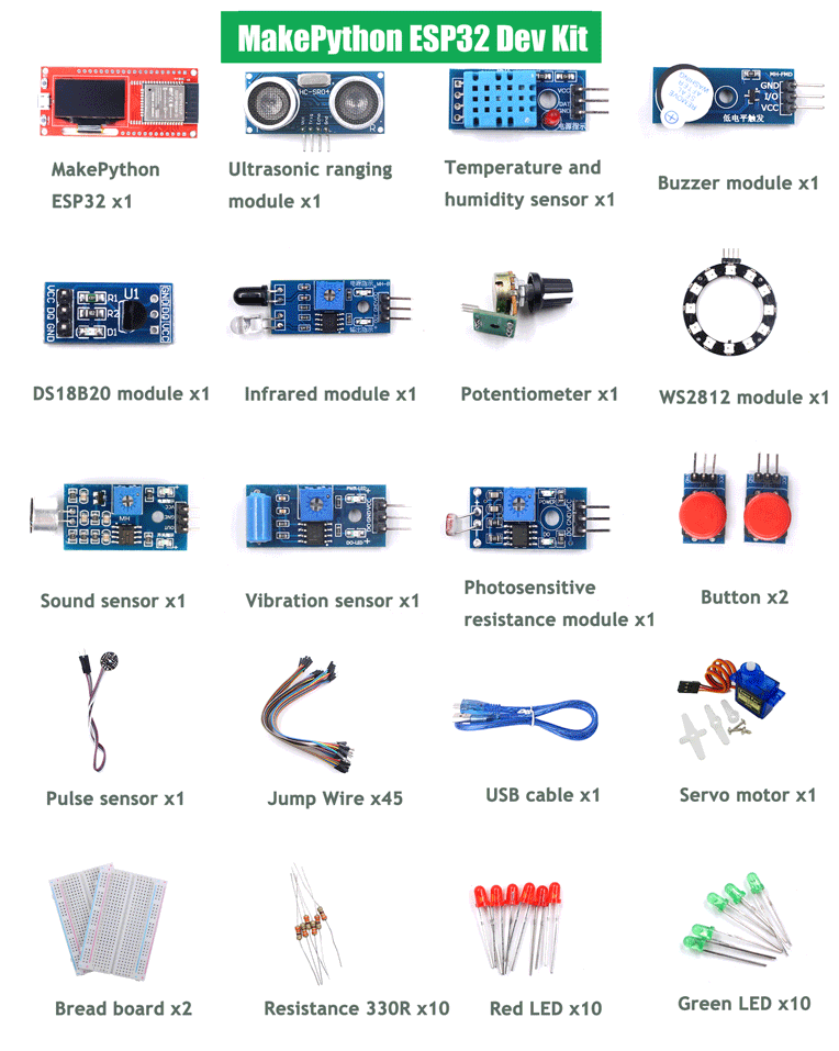 MakePython-ESP32-Dev-Kit-Pack-List