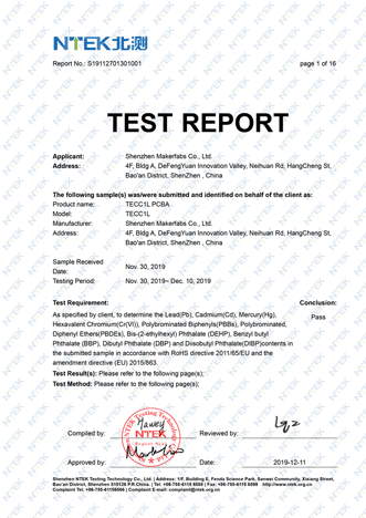 Makerfabs-ROHS-Certification-Report