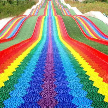 New popular outdoor park attractions unpowered low cost park project colorful rainbow slide manufacturer and supplier Jinbo amusement