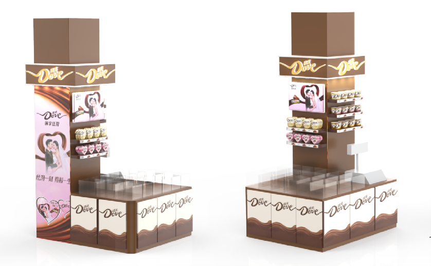 Point of sale material chocolate shelf