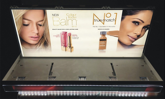 L'Oreal-Cosmetic Countertop Display Stand with Lightbox