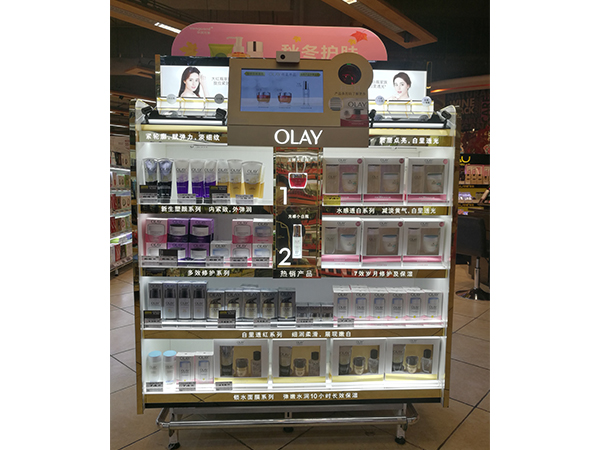 Olay-Display Shelf with Digital Signage