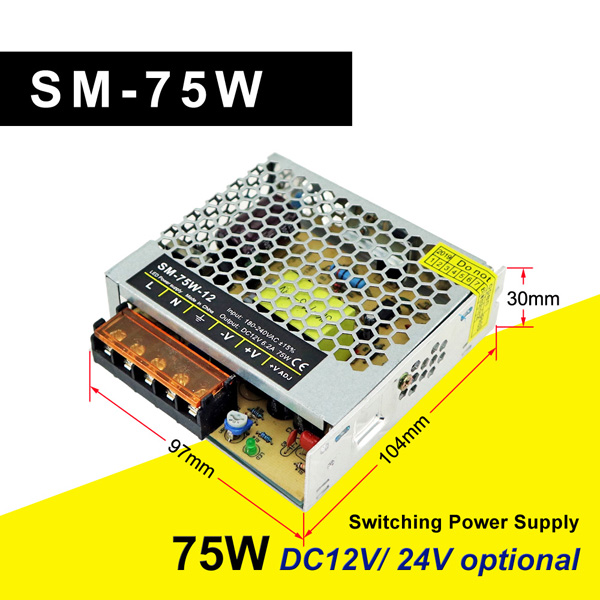 SM-75W-12 Slim Power Supply Switch