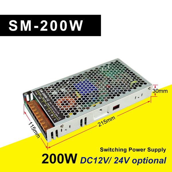 SM-200W-12 Thin Power Supply Switching