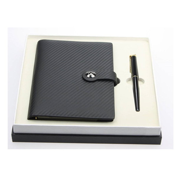 Cowhide Leather Loose Leaf Stone Notebook with Signed Pen Set TZ-010