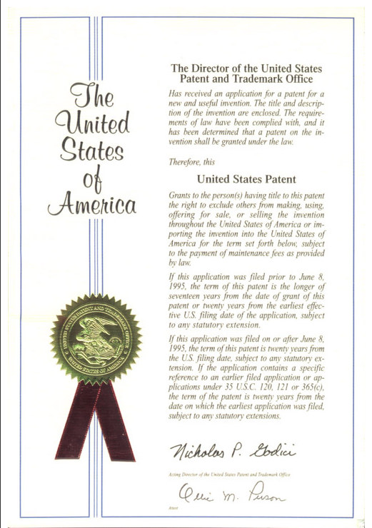 Usa Stone Paper Patent Certificates