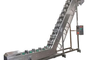 Inclined Stainless Steel Double Cups Conveyor