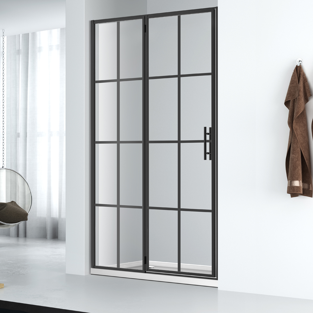 welleader black gride framed glass shower door design