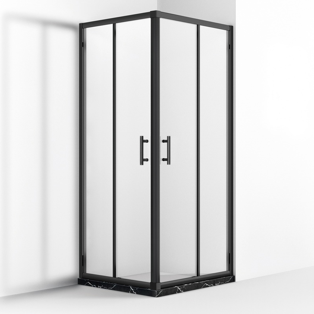 MB542 Matt Black Double Sliding Corner Entry