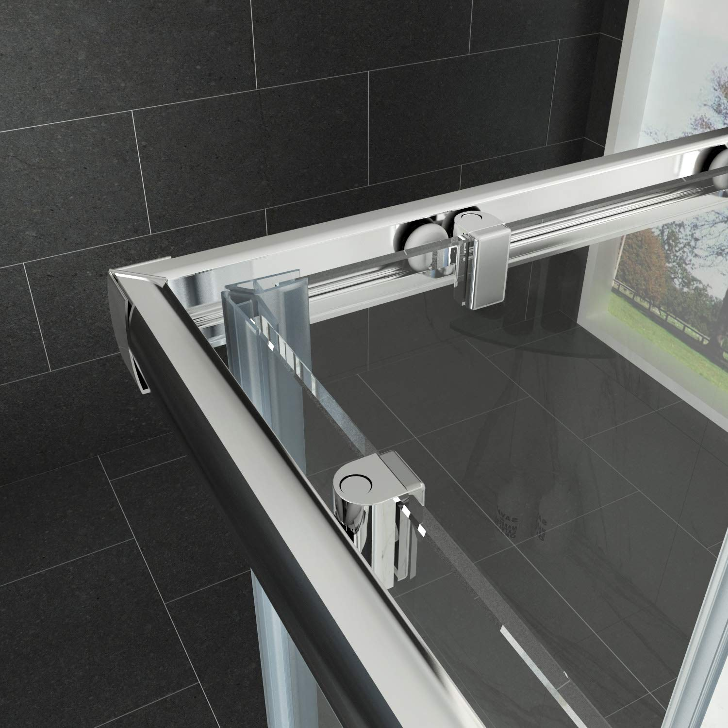 JT542 Square Frameless Corner Entry Shower Enclosure