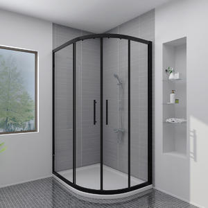 MB242-O Matt Black Offset Shower Screen