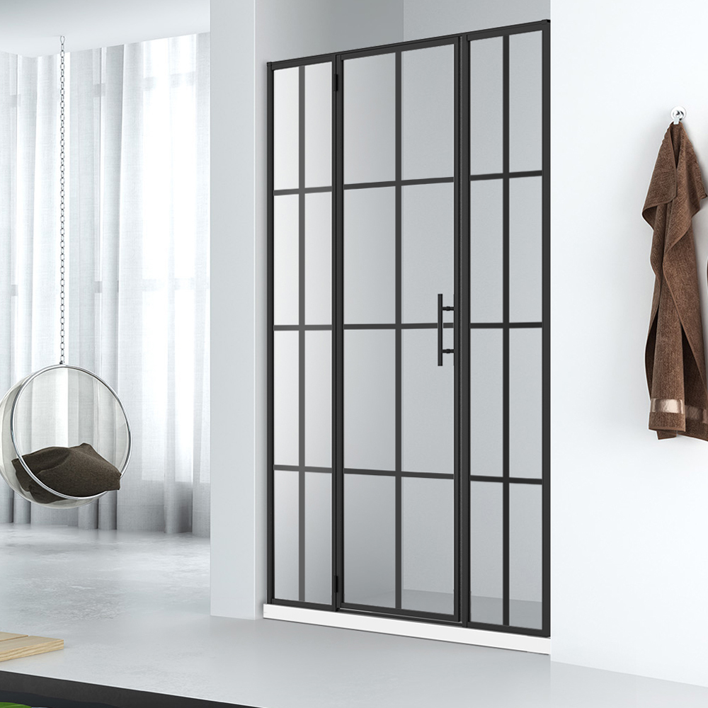WLD001 Black Gride Framed Glass Shower Door Design