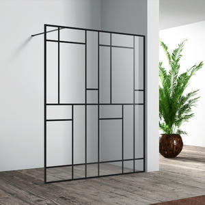 WLD001 Matte black fixed shower door with unique pattern
