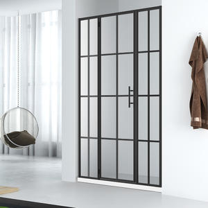 WLD001 133  Industrial style swinging glass shower door