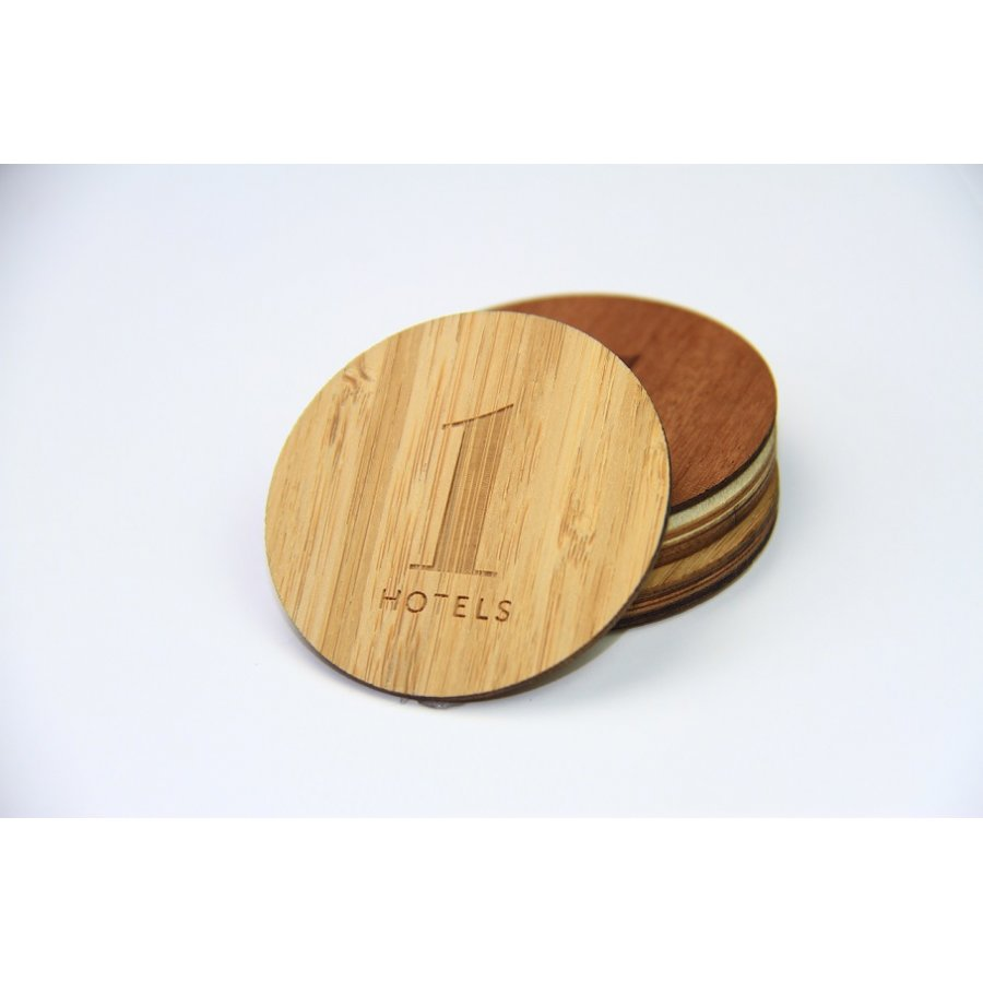 Wood Identification RFID Tag Round Shape 50mm Hotel Card