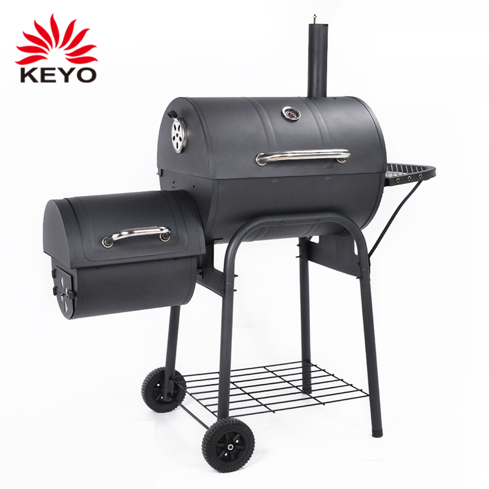 Low Cost Outdoor Trolley Charcoal Grill Bbq Smoker Barrel Offset Barbecue Drum Smokers with wheels