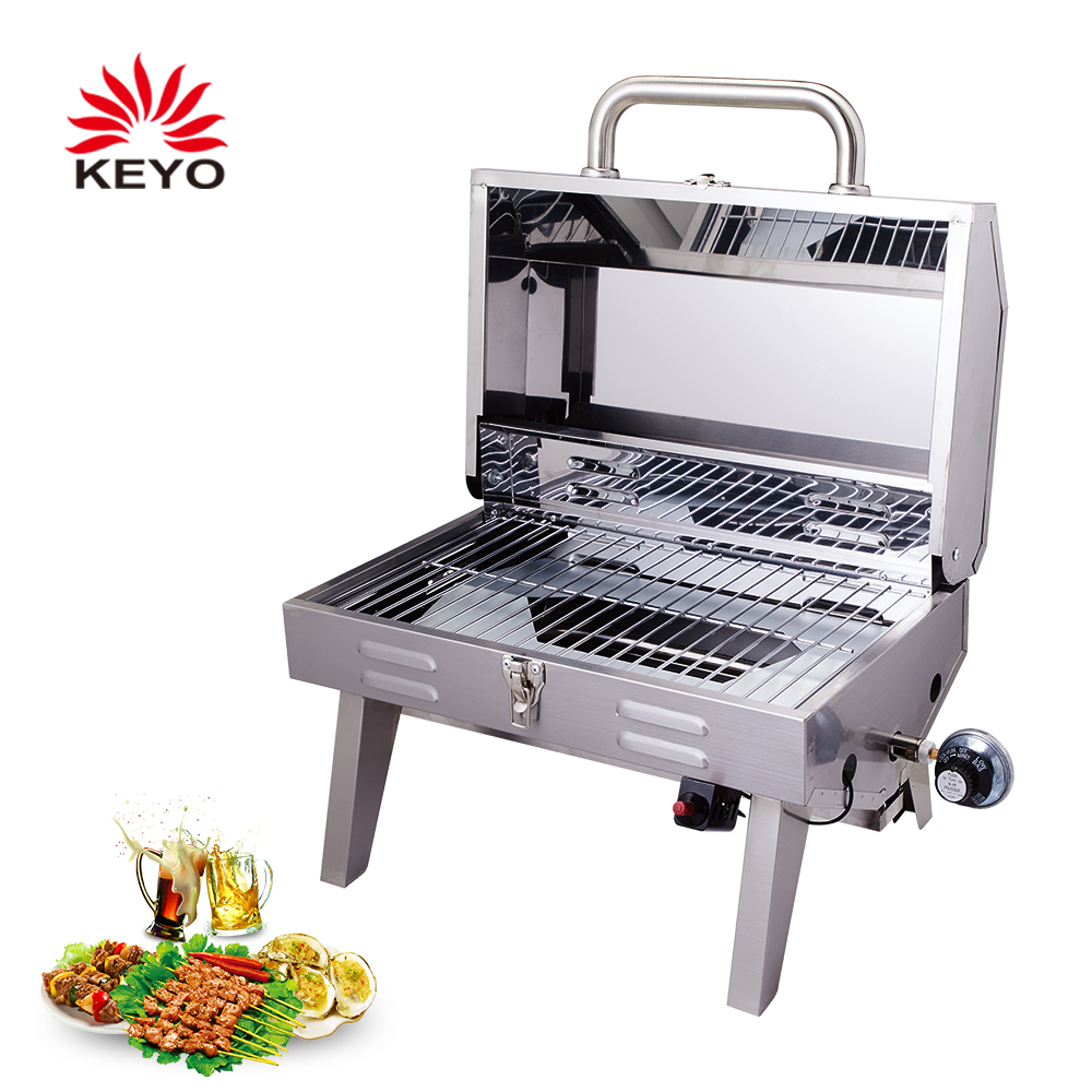 10000 BTUs Stainless Steel Tabletop BBQ Propane Portable Gas Grills With Certificate