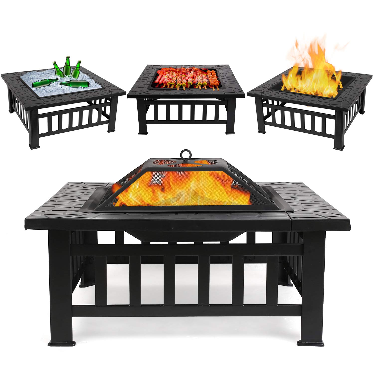 KY8181FP 32 inch Outdoor Square Metal Firepit Backyard Patio Garden Stove Wood Burning BBQ Outdoor Fire Pit