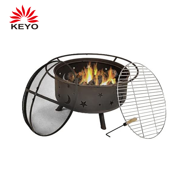KY182 Portable Fire Pit Combo Barbecue Grill