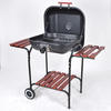 YH22022D Square Charcoal Grill with Wood Side Tables