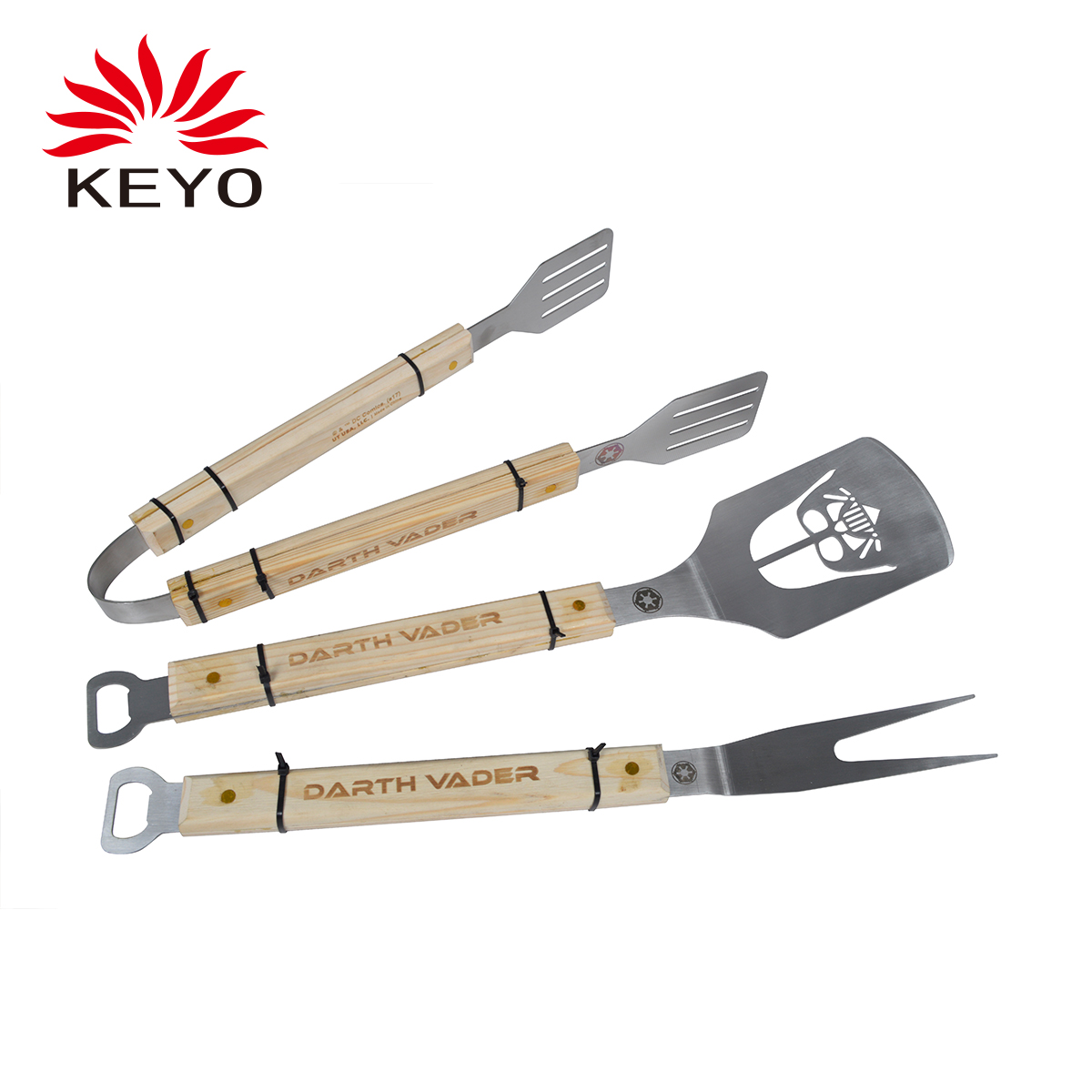 KY001DIY Three pcs charcoal barbecue tool set