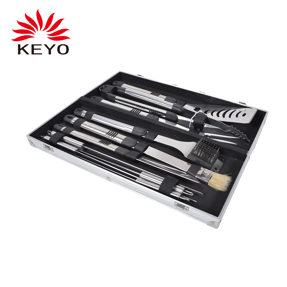 KY1098 10PCS Barbecue tool set outdoor portable charcoal bbq tool
