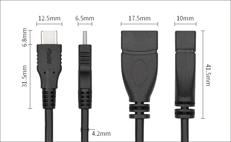 USB 3.1 C to A Female OTG Cable