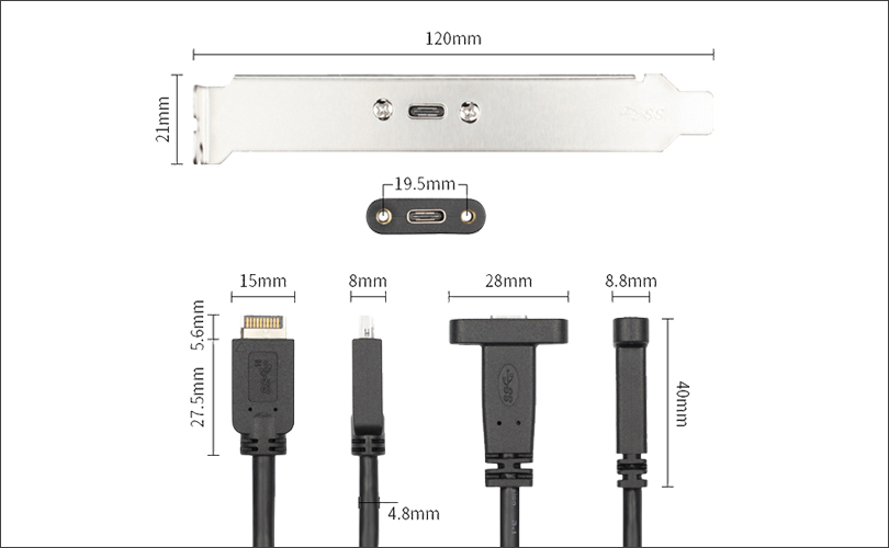 Type E To USB C PCI Baffle Cable