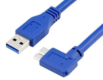 Right Angle Micro B Cable, USB 3.0 Type A to Micro B Cable