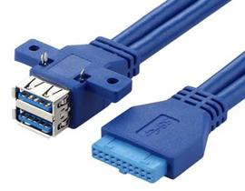 USB 3.0 20 PIN to Double USB Female Cable