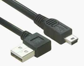 Right Angle USB A to Mini B Cable