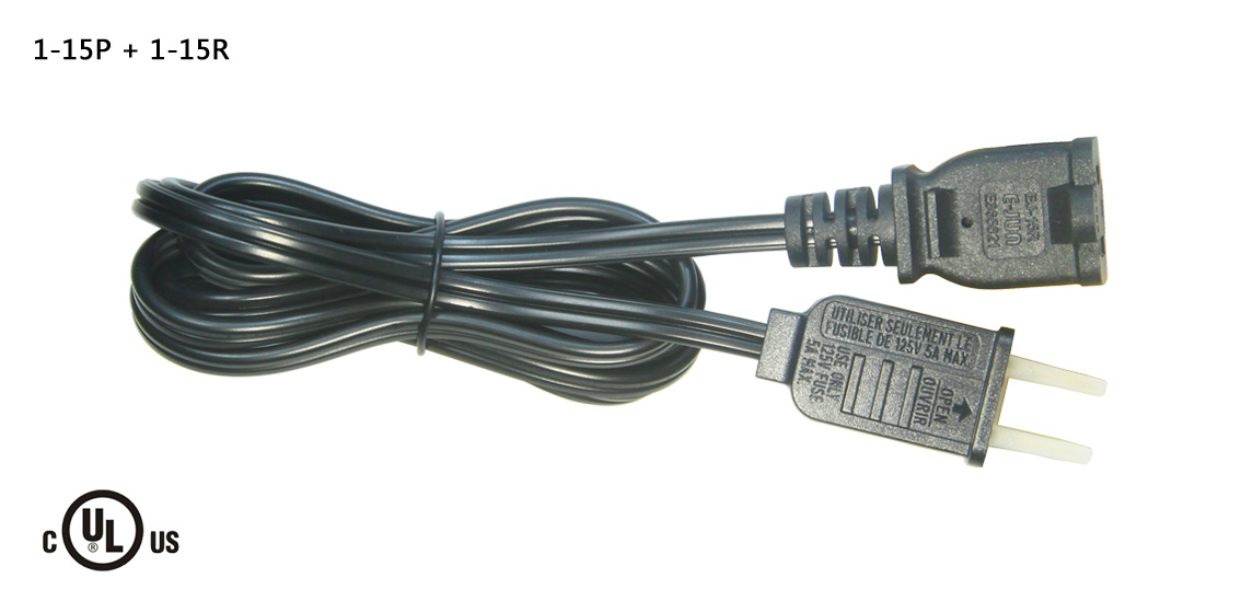 UL&CSA Approved America/Canada AC Power Cord With NEMA 1-15P 2Pin Plug