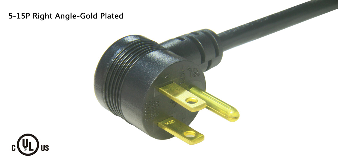 UL&CSA Approved America/Canada Right Angle NEMA 5-15P Power Cord