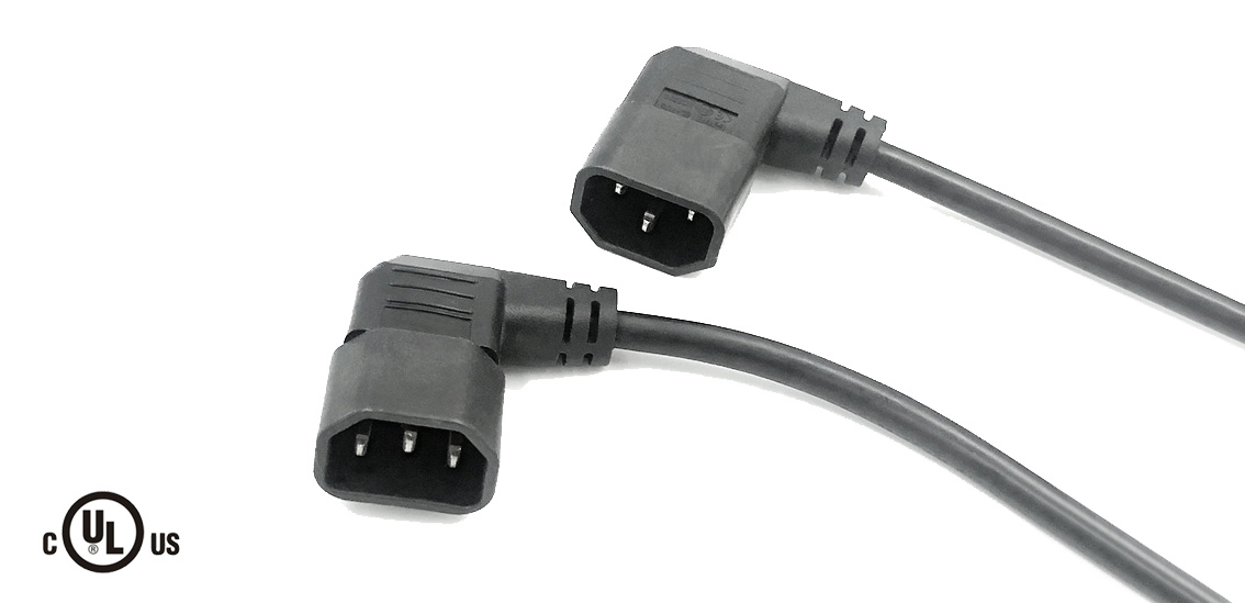 UL&CSA Approved America/Canada Right Angle IEC C14 Power Cord