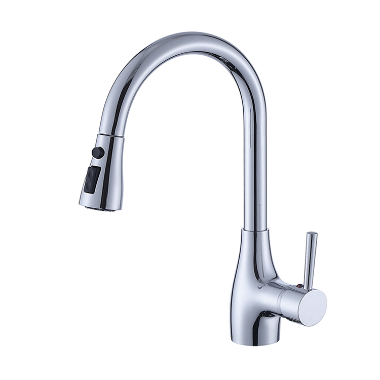 brass-single-hole-kitchen-faucet-with-sprayer