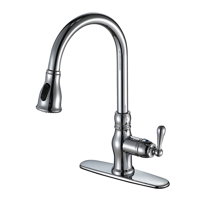 Classical Brass Pull Out Chrome Gooseneck Kitchen Faucet