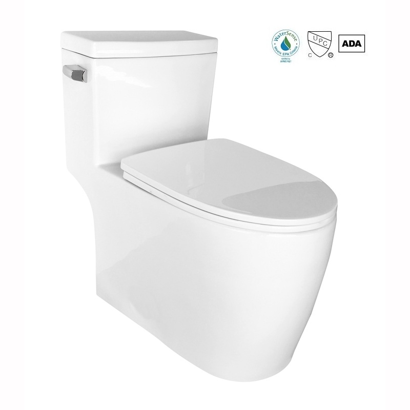 Water sense ceramic one piece elongated toilet with skirted trapway