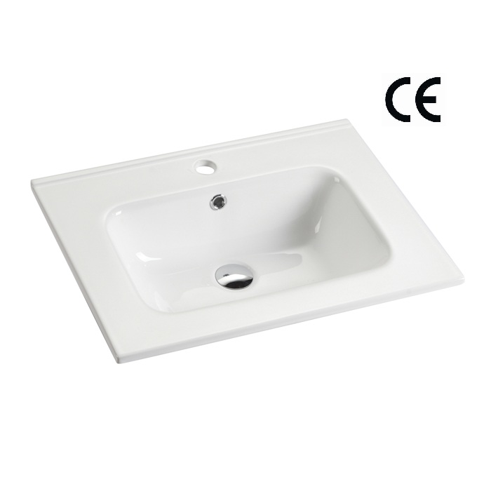 Vitreous China Rectangular Vanity Top Bathroom Cabinet Wash Basin