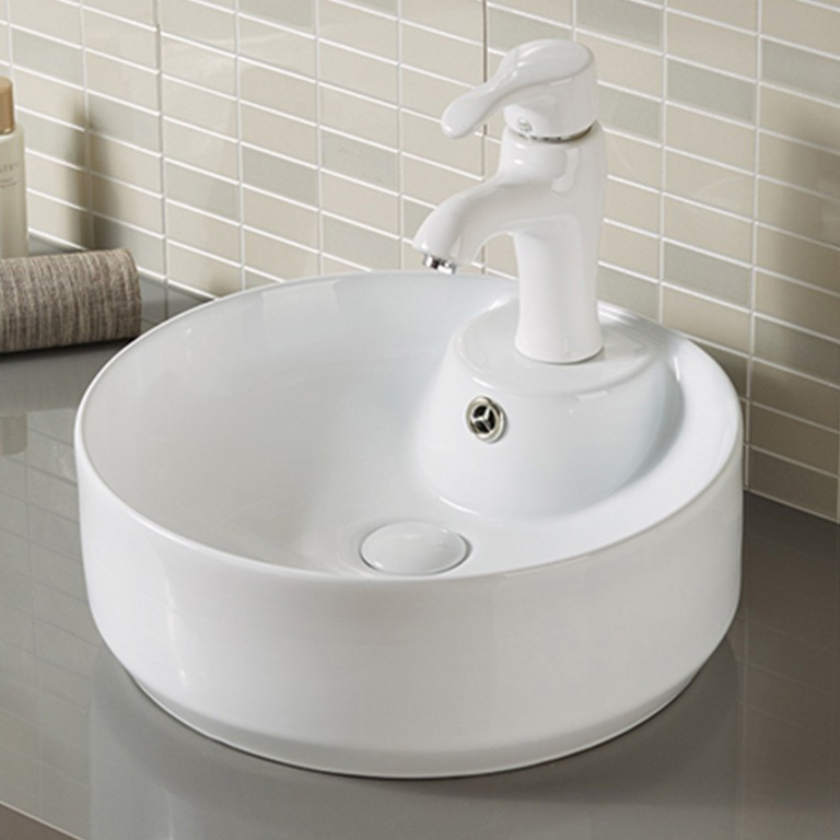 Round Shape Glossy White Color Home Bathroom Sink