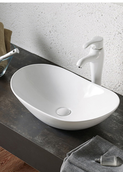 Oval Ceramic Lavatory Small Vessel Sink with Faucet