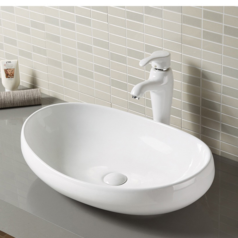 Oval Cabinet Top Counter Mounted Bathroom Sinks