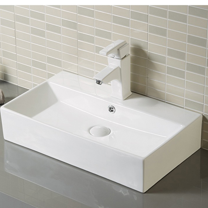 Wall Hung Rectangular White Bathroom Sink