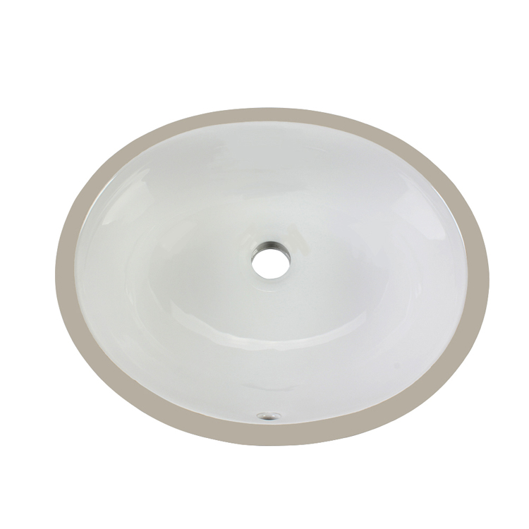 Vitreous china under-mount bathroom sink with overflow