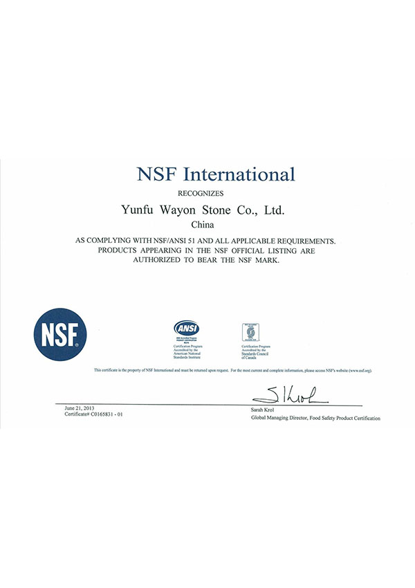 NSF American Food Safety Certification (ANSI 51)