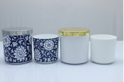 White concrete candle holder ceramic pattern jars with metal lid